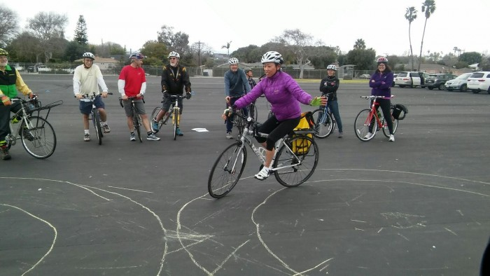 "Jayne Ishii shows fellow School Cycling Instructors skill-building methodology to a smooth Figure ""8"". Watching L - R: Jon Spangler, Dana Sherman, Jim Rowton-Instructor, Henry Granville, Steven Reichlin, Crystal Mendez, Johanna Iraheta & Alison Kendall."